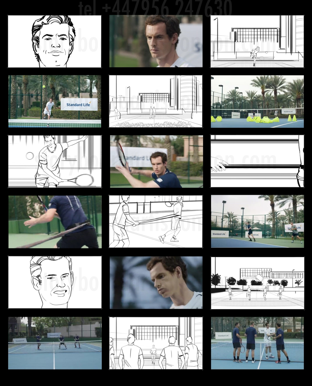 Freelance storyboard artist London Andy Murray