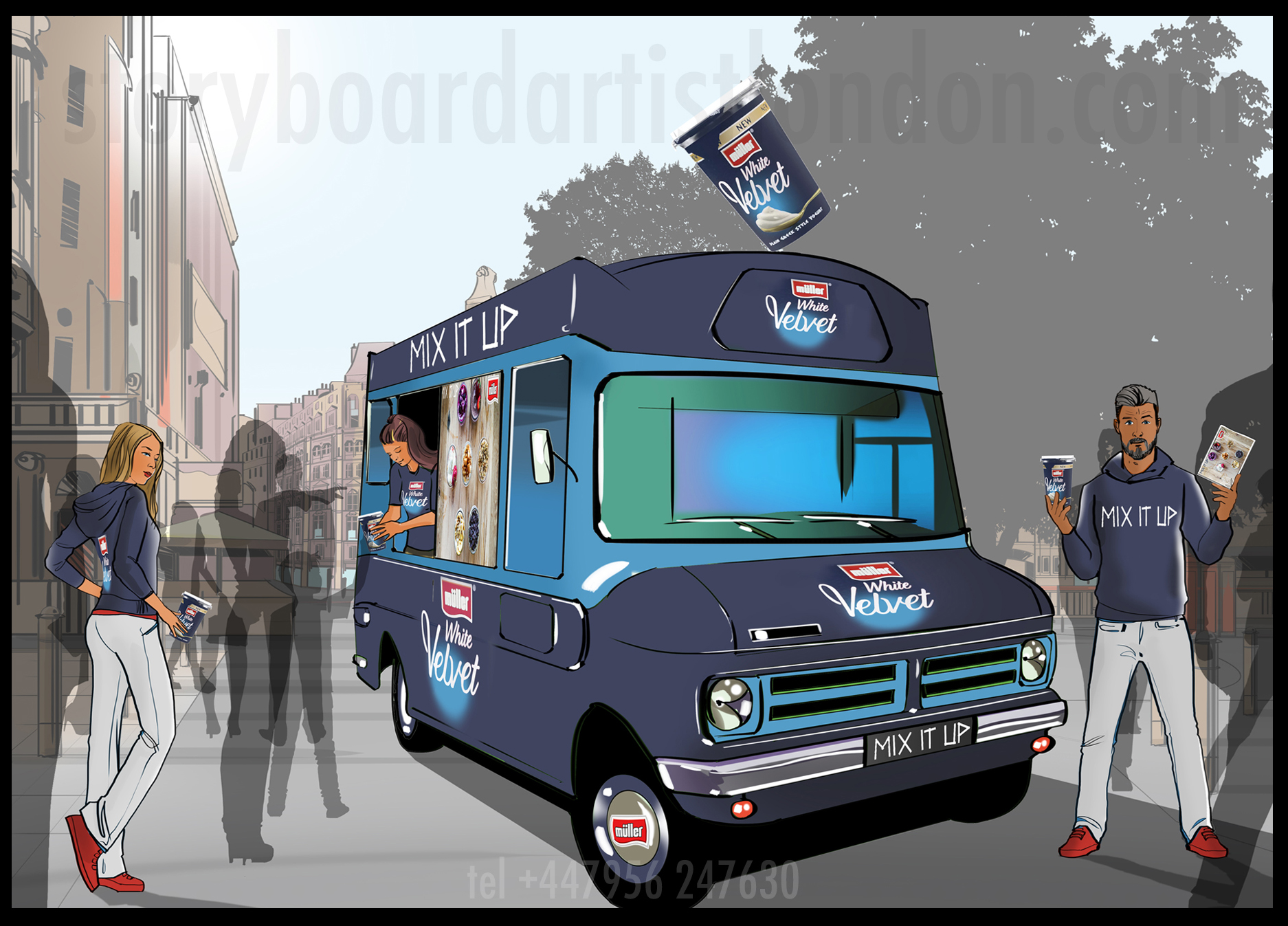 Freelance storyboard artist London experiential visual